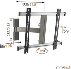"Thin 225 Support mural silbern 26"" - 55"""