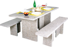 Ensemble rectangulaire table et bancs en granit