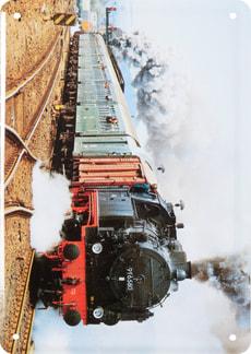 Werbe-Blechschild Güterzug Tender