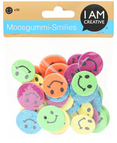 Moosgummi, Glitter Smiles, 50 Stk.