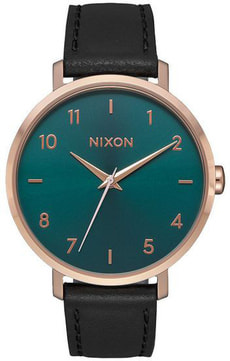 Arrow Leather Rose Gold Emerald 38 mm
