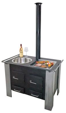 Cuisinière d'extérieur XXL (fondue, grillades)