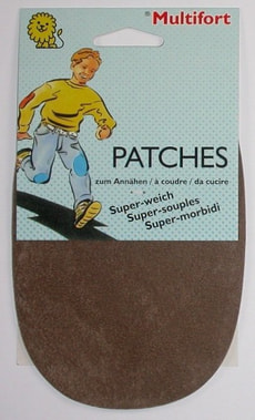 Kunstleder-Patches Velours dunkelbeige 2 Stk.