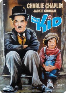 Werbe-Blechschild Charlie Chaplin, The Kid