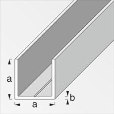 U-Profilé carré 1.5 x 15.5 mm brut 1 m