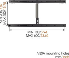 "Thin 355 Support mural silber 40"" - 65"""