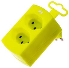 Abzweigstecker 2 x T13 fluo gelb