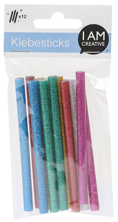 Klebesticks, glitter, niedrigtemperatur, 12 Stk.