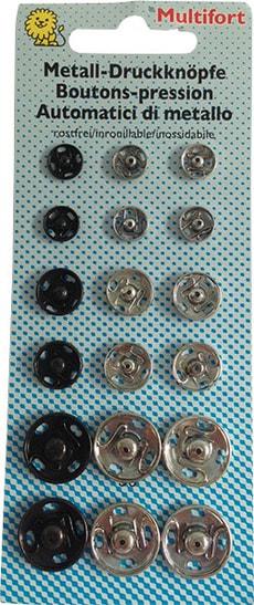 Bottoni automatici metallo grande 18 pz.