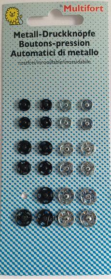Metalldruckknöpfe ws/sz klein 24 Stk.