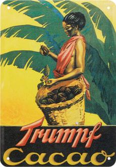 Signe de tôle publicitaire Cacao Trumpf
