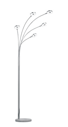 Stehleuchte LED 5-flammig, chrom