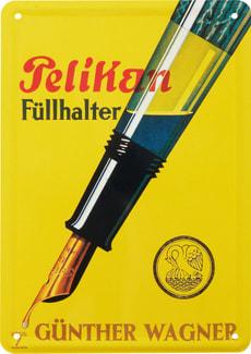 Werbe-Blechschild Pelikan Füllfeder