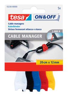 On & Off® Kabelbinder 12mm:20cm weiss/schwarz/blau/rot/gelb