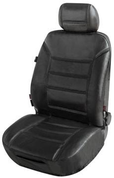 Housse de siège avant en cuir noir Billy