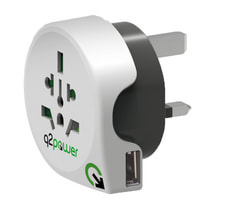Q2Power Reiseadapter Welt nach Grossbritannien mit USB