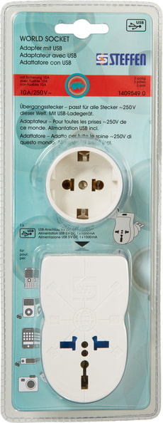 World Socket Adapter mit USB