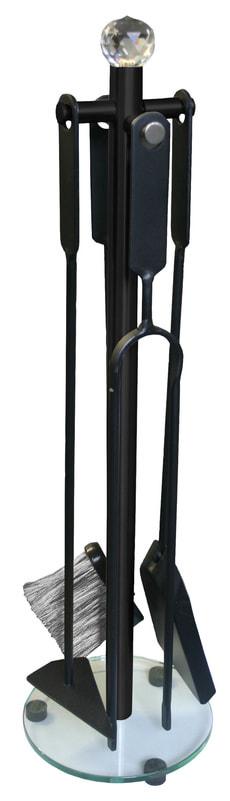 Kamingarnitur 4-teilig, schwarz