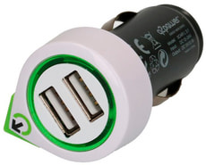 Q2Power Dual USB Car Charger with Lightning Cable