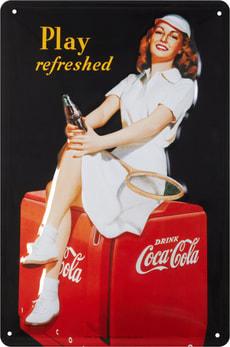 Signe de tôle publicitaire Coca Cola Play Refreshed