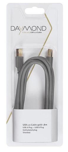 Câble USB 2.0 1.8m gold grise