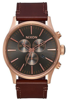 Sentry Chrono Leather Gold Brown 42 mm