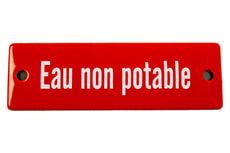 Emailschild Eau non potable