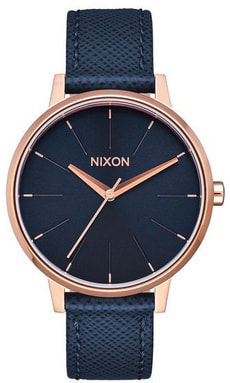 Kensington Leather Navy Rose Gold 37 mm
