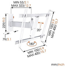"Wall 2225W Support mural blanc 32"" - 55"""