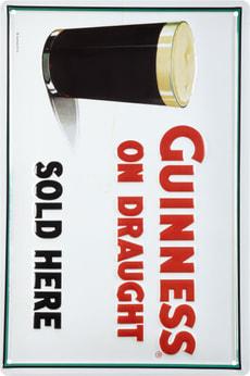 Signe de tôle publicitaire Guiness on draught