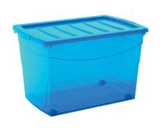 Boîte de rangement XL, bleu, transparent