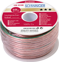 Cable d'haute-parleur 2x2.5mm2 transparent