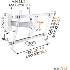 """Wall 2325W Support mural blanc 40""""- 65"""""""