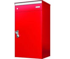 Briefkasten mit Paketschliessfach s:box17 Feuerrot/Feuerrot