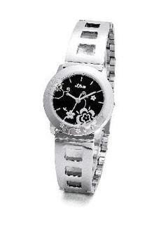 L- s.Oliver BLACK FLOWER noir montre