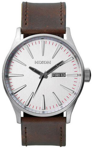 Sentry Leather Silver Brown 42 mm
