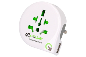 Q2Power Reiseadapter Welt nach Europa (Schuko) mit USB