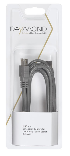 USB 2.0 1.8m grigio
