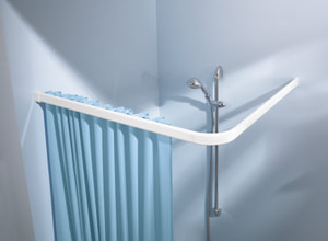 Duschvorhang-Winkelschiene mit Knopfsystem weiss 170x75 cm