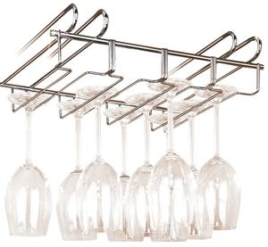 Accroche-verres pour étagère argent brillant