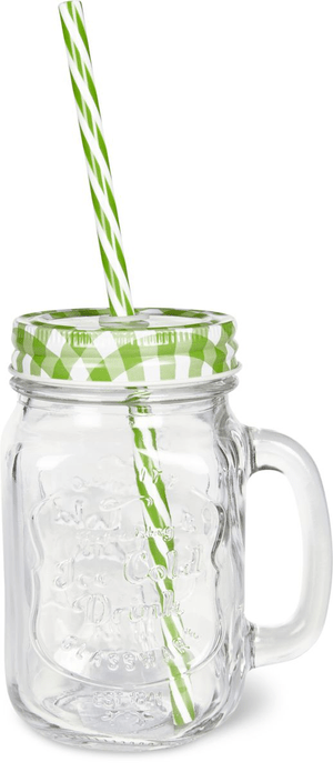 Glas mit Trinkhalm grün