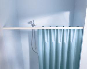 Duschvorhang-Federschiene mit Knopfsystem weiss 125-220 cm