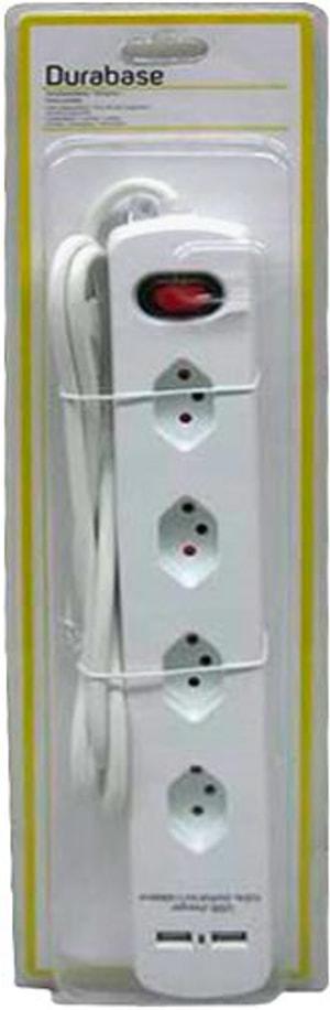 Steckdosenleiste 4x mit Schalter (1.5m) und USB-Ladeanschluss