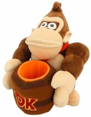 Donkey Kong mit Fass en peluche