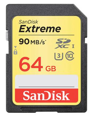Extreme 90MB/s 64GB SDXC-Carte mémoire