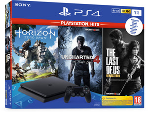 PlayStation 4 1To Black - incl. Uncharted 4 Hits, The Last of Us 1 Hits und Horizon Zero Dawn Hits