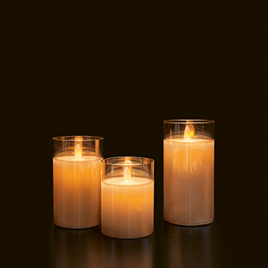 LED WAX CANDLE GLASS BROWN