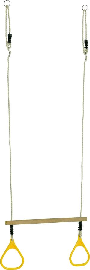 Trapèze bois aux anneaux en plastique