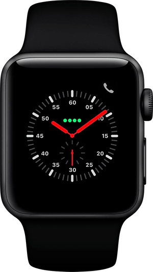 Watch Series 3 GPS + Cellular 38mm Space Grey Aluminium Case Black Sport Band