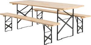 Ensemble table et bancs, 220 x 80 x 78 cm
